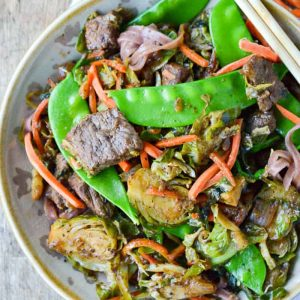 Beef and Brussels Sprouts Stir Fry with carrots and snap peas