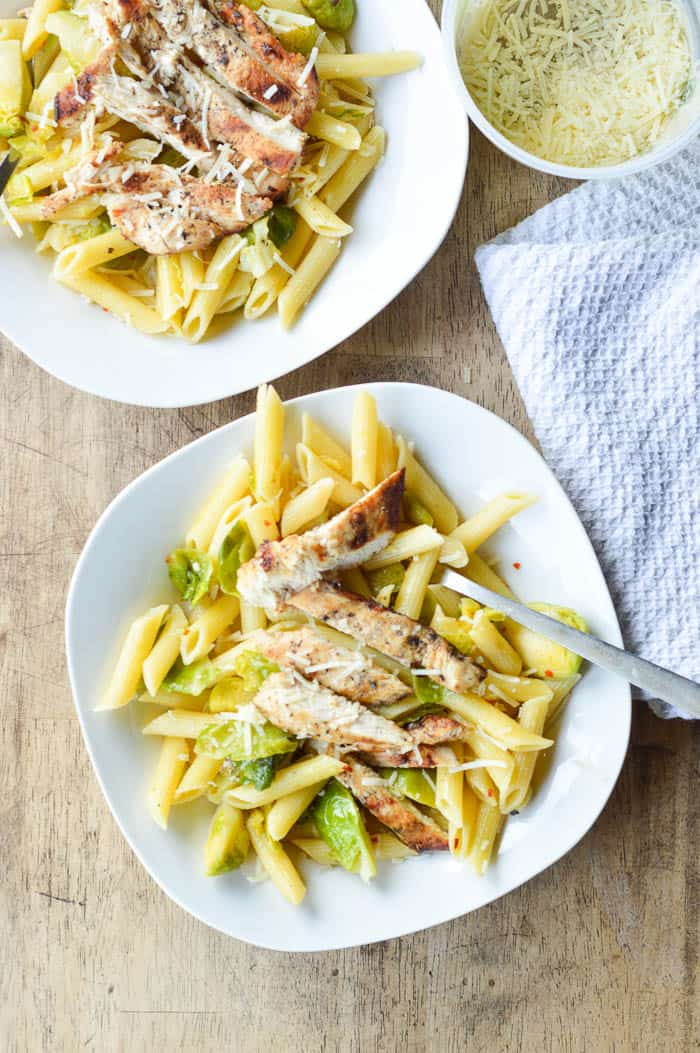 Easy Penne with Brussels Sprouts and Grilled Chicken plated and ready to eat!