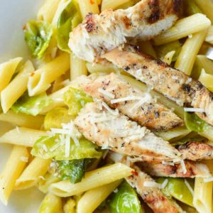 Penne with Grilled Chicken and Brussels Sprouts