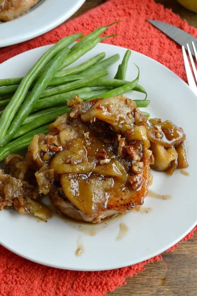 Caramel Apple Pork Chops - Sugar Dish Me