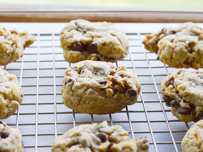 Cooling chocolate chip pecan cookies on a wire rack