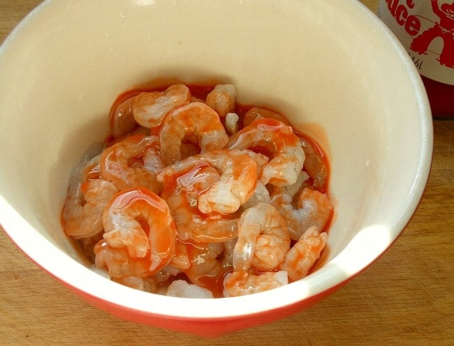 Marinate the Shrimp in Hot Sauce