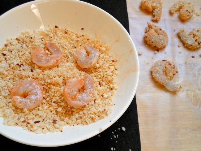 Bread the Marinated Shrimp