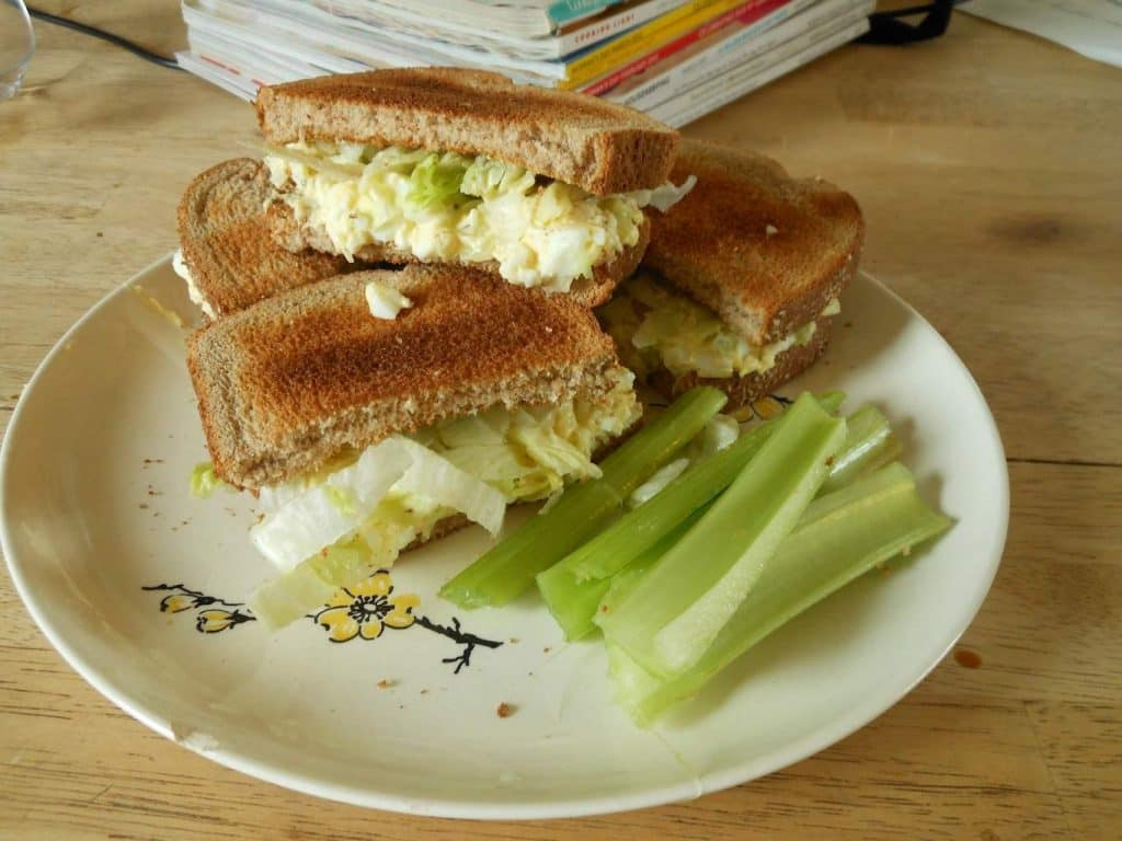 classic egg salad on wheat toast