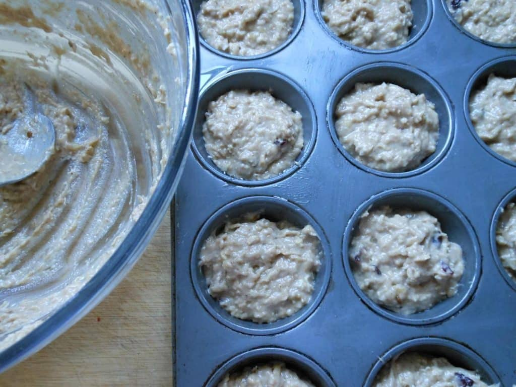 Cranberry Coconut Banana Oat Muffins