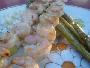 sweet & spicy shrimp skewers