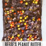 Reese's Peanut Butter Cheesecake Brownies in a pan studded with Reese's Pieces
