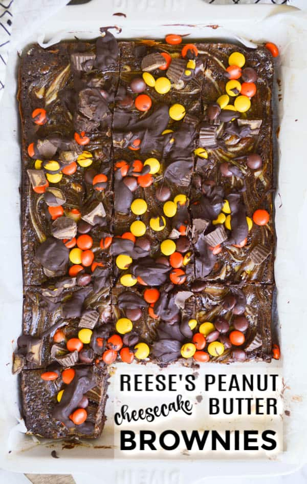 Reese's Peanut Butter Cheesecake Brownies with Reese's Pieces and Peanut Butter Cups