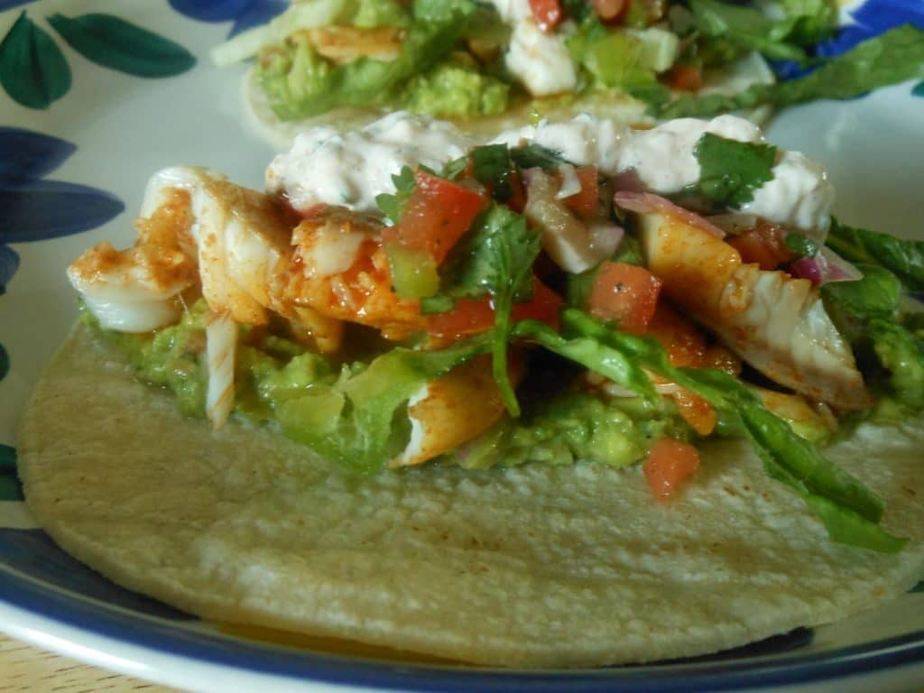 Spicy Fish Tacos with Cilantro Lime Cream