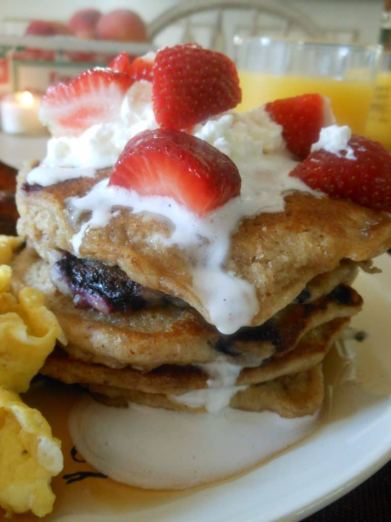 Oat Nutty Whole Wheat Blueberry Pancakes