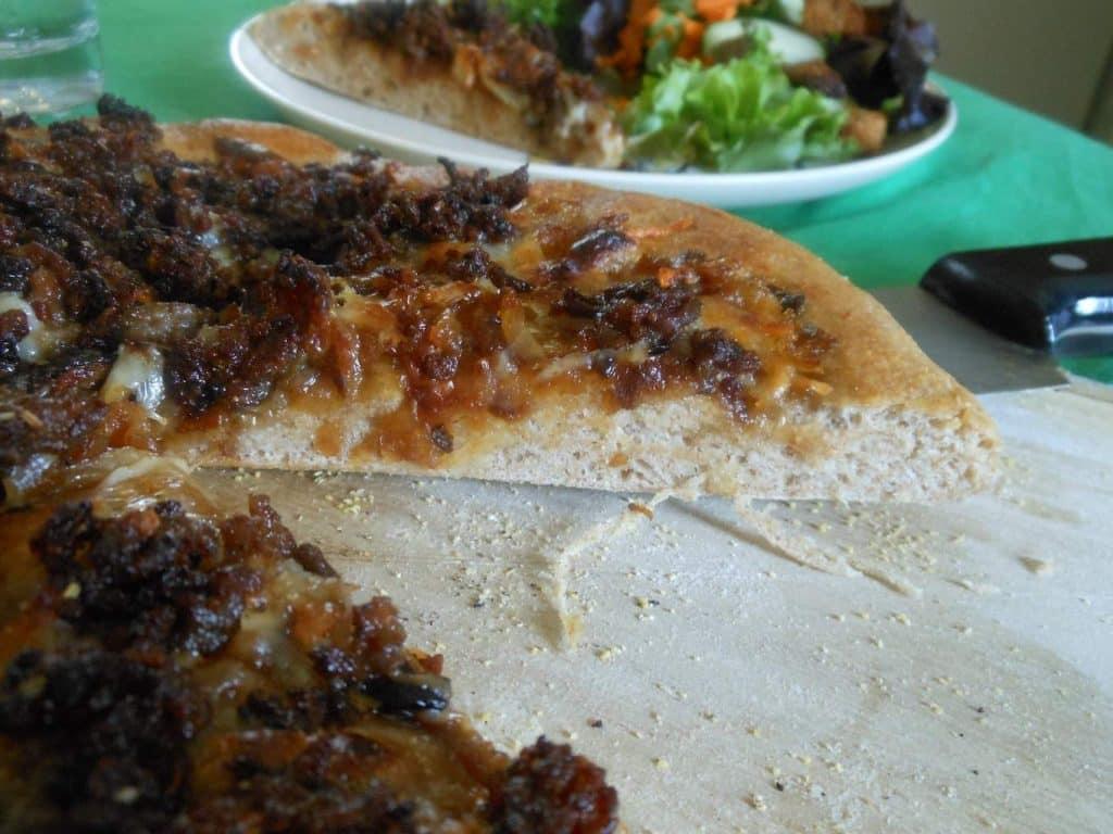 Caramelized Onion Pizza with Honey Slaw
