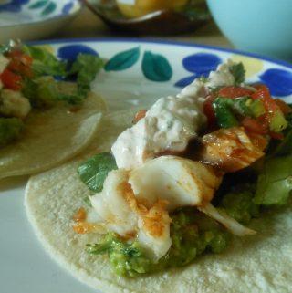Spicy Fish Tacos with Cilantro Lime Cream