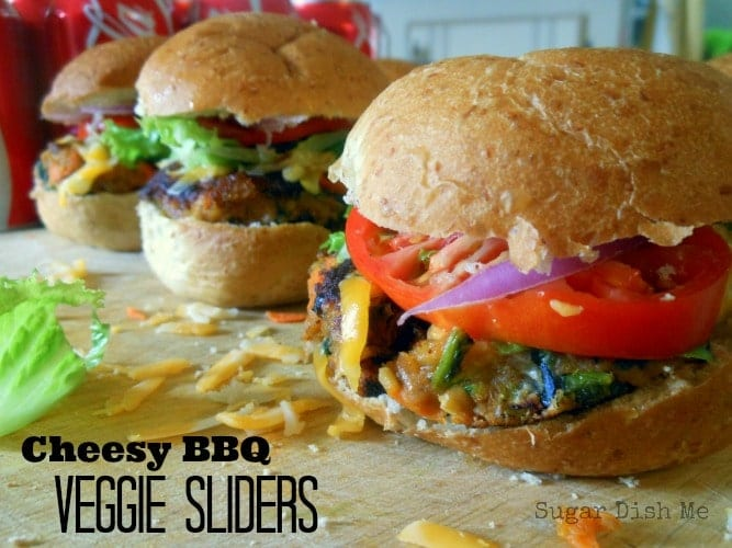 Cheesy BBQ Veggie Sliders