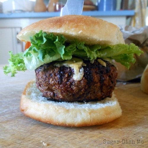 Apple Gouda and caramelized Onion Stuffed Turkey Burgers
