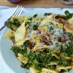 Crispy Kale and Caramelized Onion Pasta