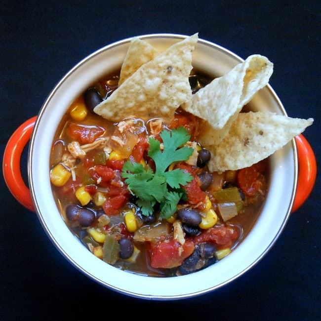 Chicken Tortilla Soup made in the crock pot