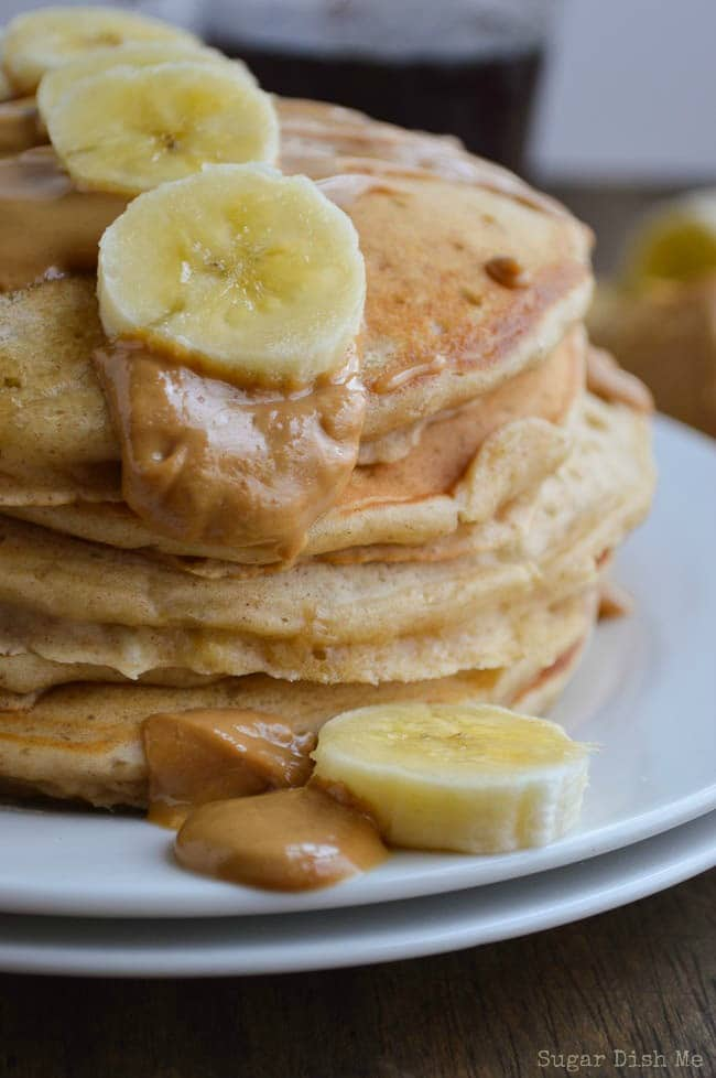 Whole Wheat Banana Pancakes with Peanut Butter