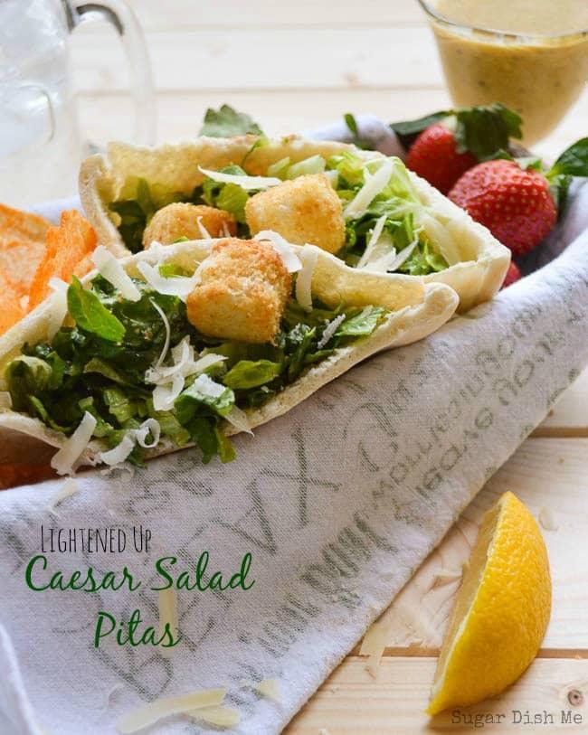 Lightened Up Caesar Salad Pitas
