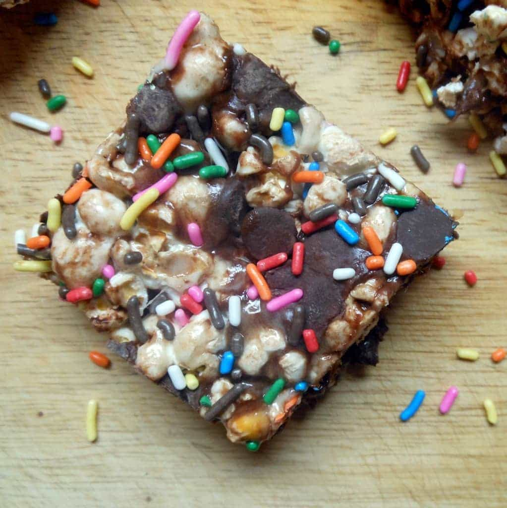 Marshmallow Chocolate Popcorn Treats
