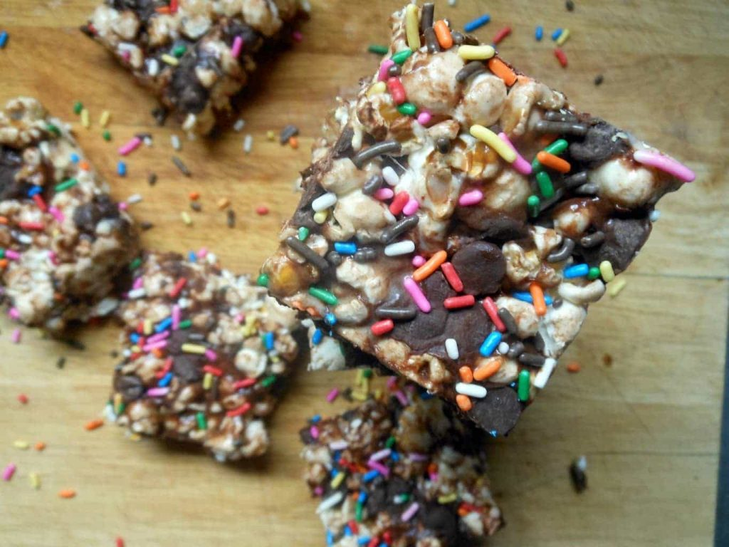 Marshmallow Chocolate Popcorn Treats