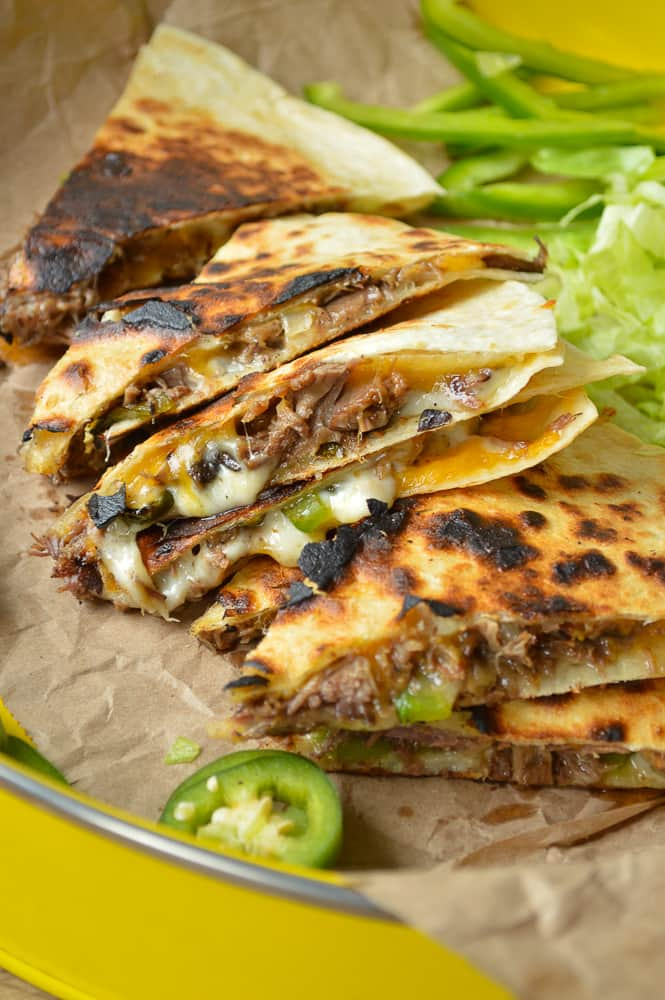 Slow Cooker Philly Cheese Steak Quesadillas