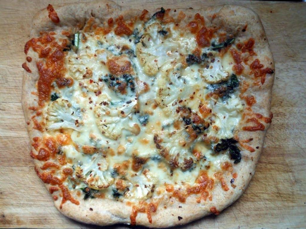 White Pizza with Cauliflower & kale