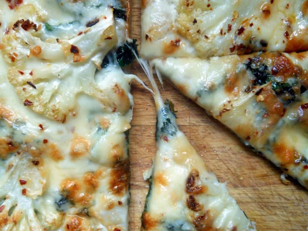 White Pizza with Cauliflower & Kale