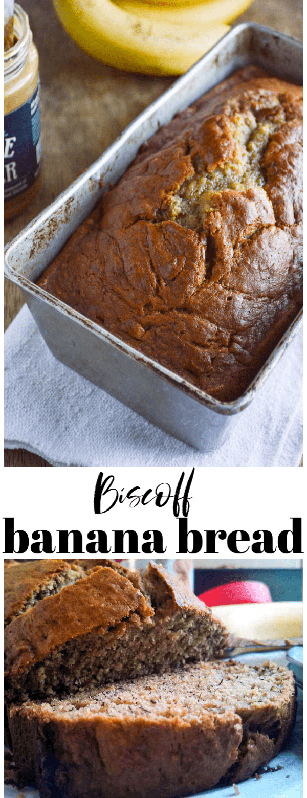 Biscoff Banana Bread is a cookie butter twist on a classic and simple banana bread recipe. Directions for making 2 small loaves or one large loaf are included!
