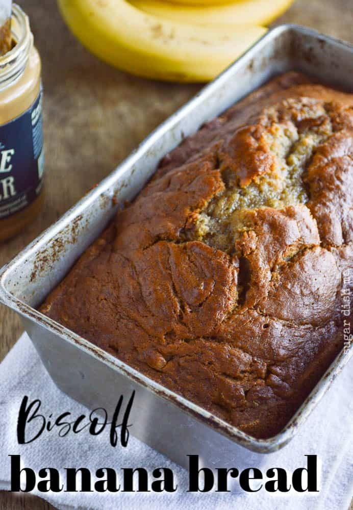 Biscoff Banana Bread in a loaf pan