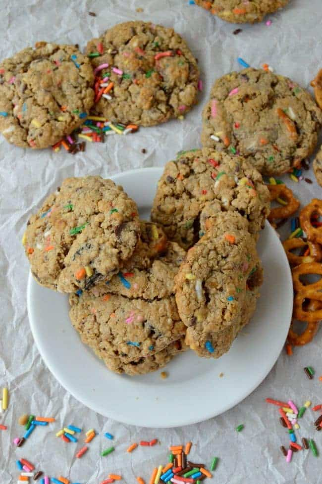Peanut Butter Oatmeal Cookies with Oreos and Sprinkles