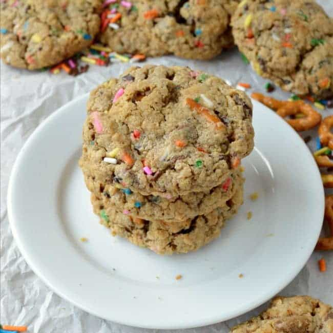Peanut Butter Oatmeal Sprinkle Cookies