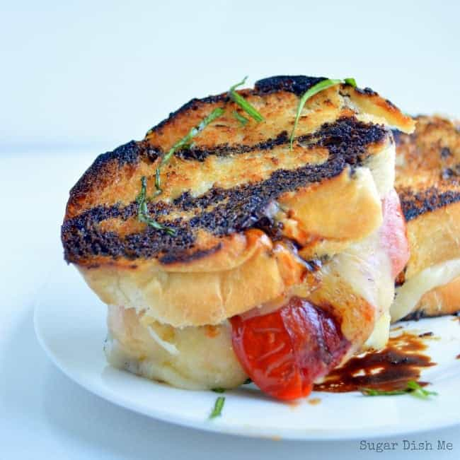 Grilled Cheese and Tomato Sandwiches with Balsamic and Basil