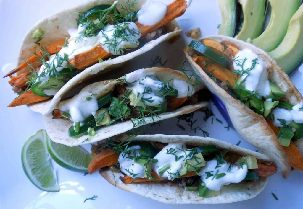 Smoky Sweet Potato Tacos with Maple Cream