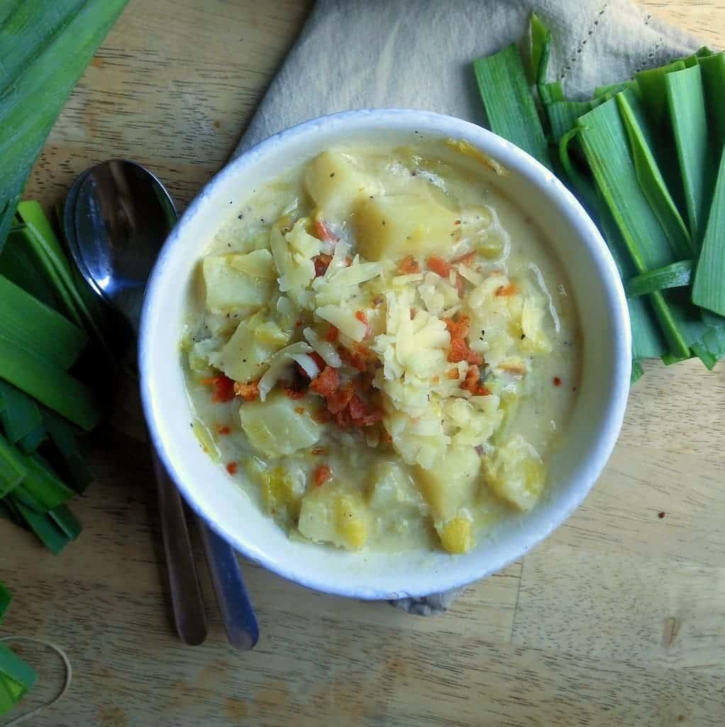Potato Leek Soup with Bacon - Sugar Dish Me