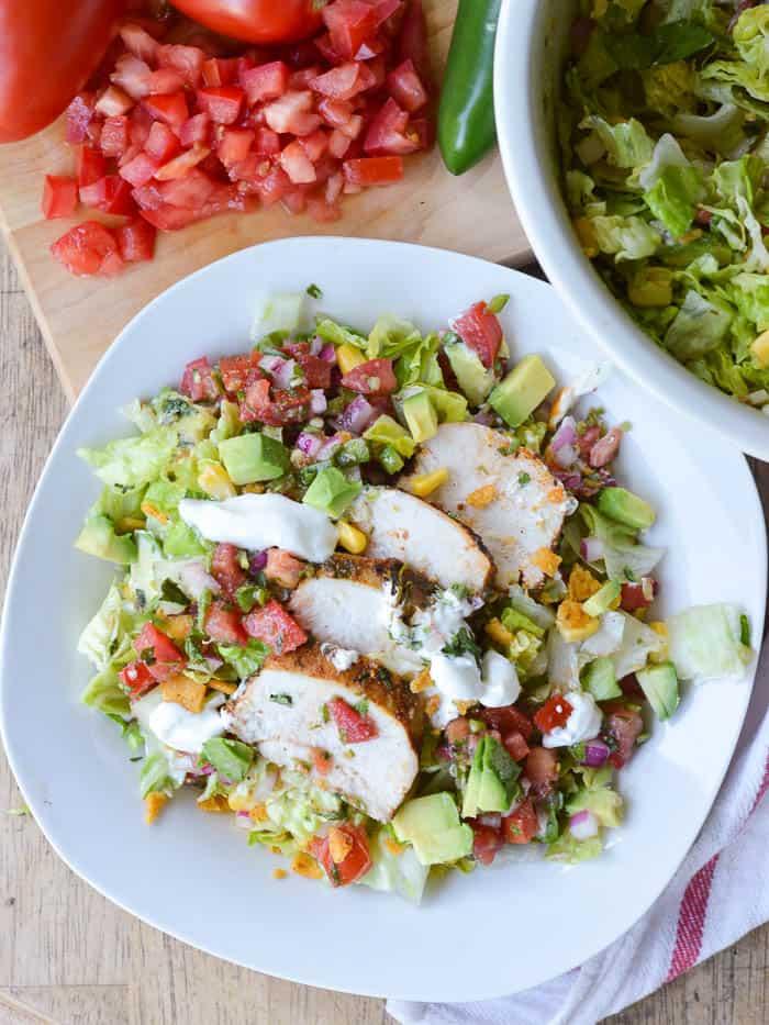 a plate of chopped southwest salad