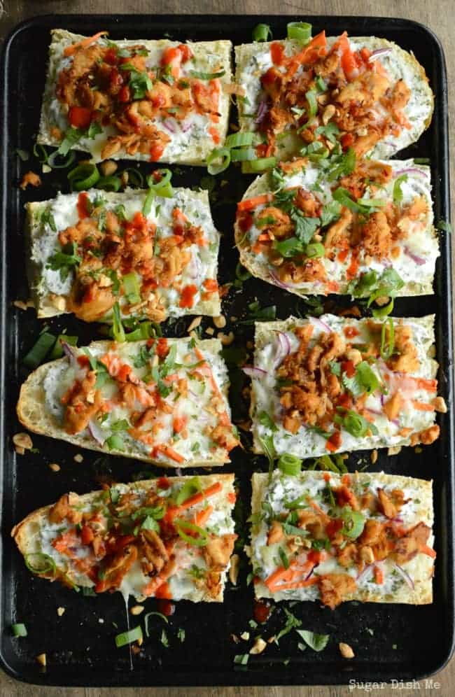 French Bread Pizza with Thai Chicken