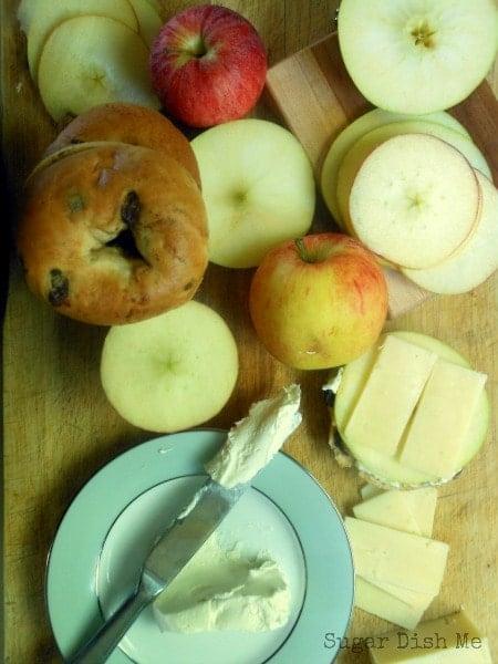 Apple Cheddar Bagel Snack