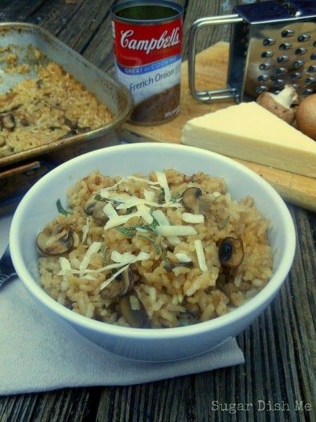 Creamy Mushroom and Onion Baked Risotto - Sugar Dish Me