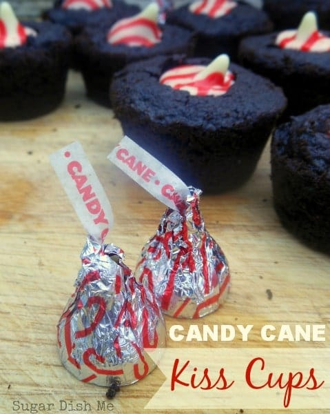 Candy Cane Kiss Cups; little soft chocolate brownie cookies topped with a candy can kiss!