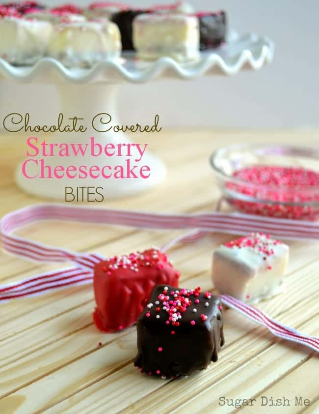 Chocolate Covered Strawberry Cheesecake Bites