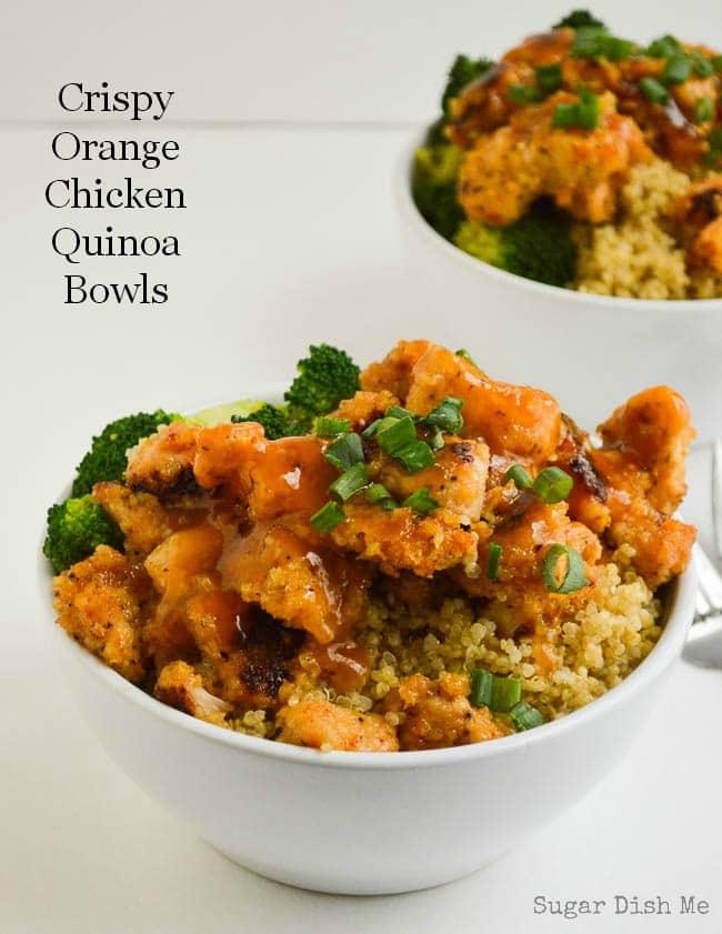 Crispy Orange Chicken Quinoa Bowls