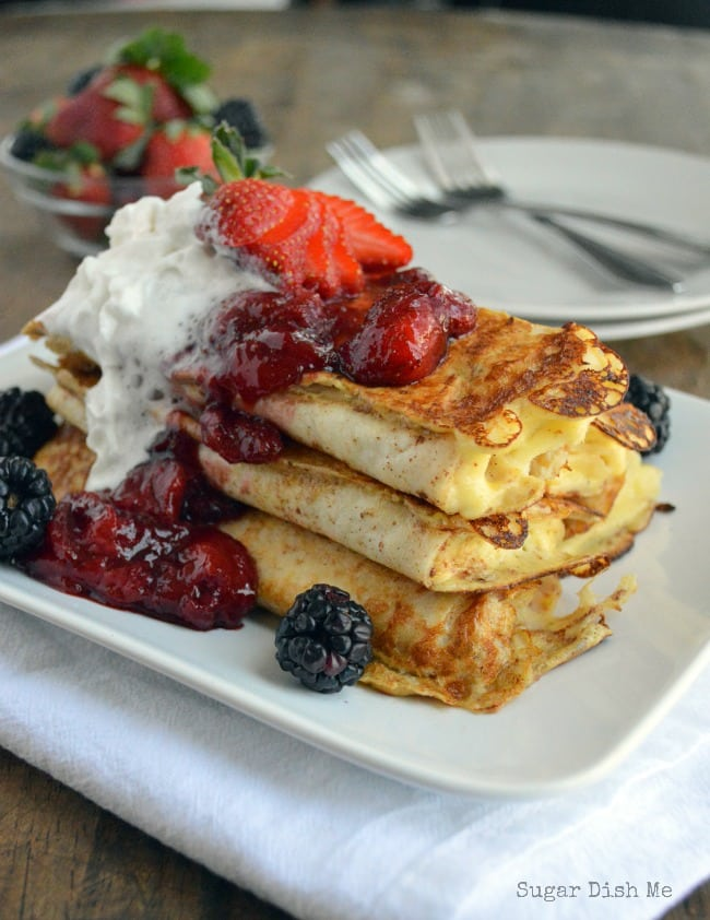 Breakfast Enchiladas with Cheese and Berries