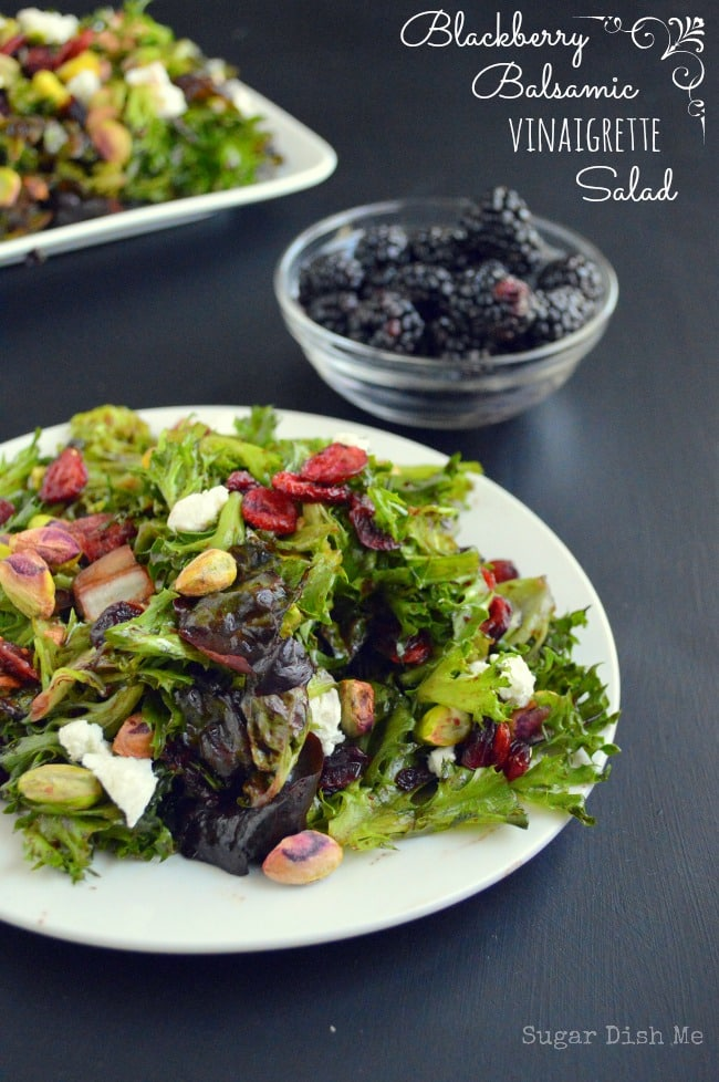 Homemade Blackberry Balsamic Vinaigrette via www.sugardishme.com