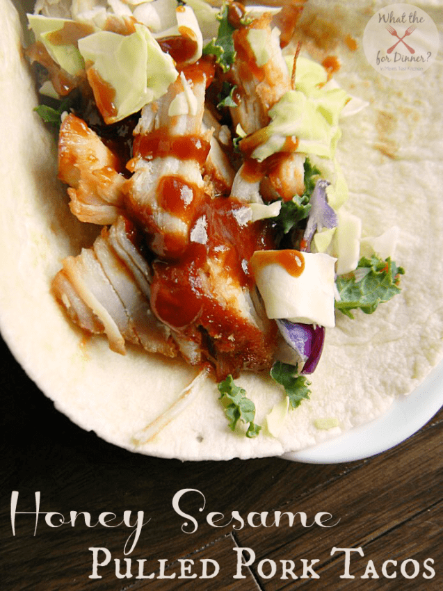 Honey Sesame Pulled Pork Tacos via NY Melrose Family; Meal Plans Made Simple