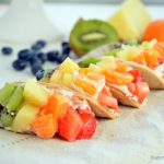Mini Rainbow Fruit Tacos with Cream Cheese Dip