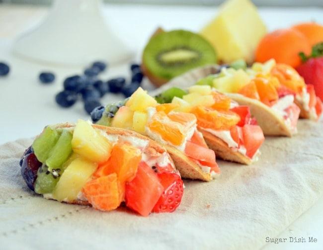 Mini Rainbow Fruit Tacos with Cream Cheese Dip