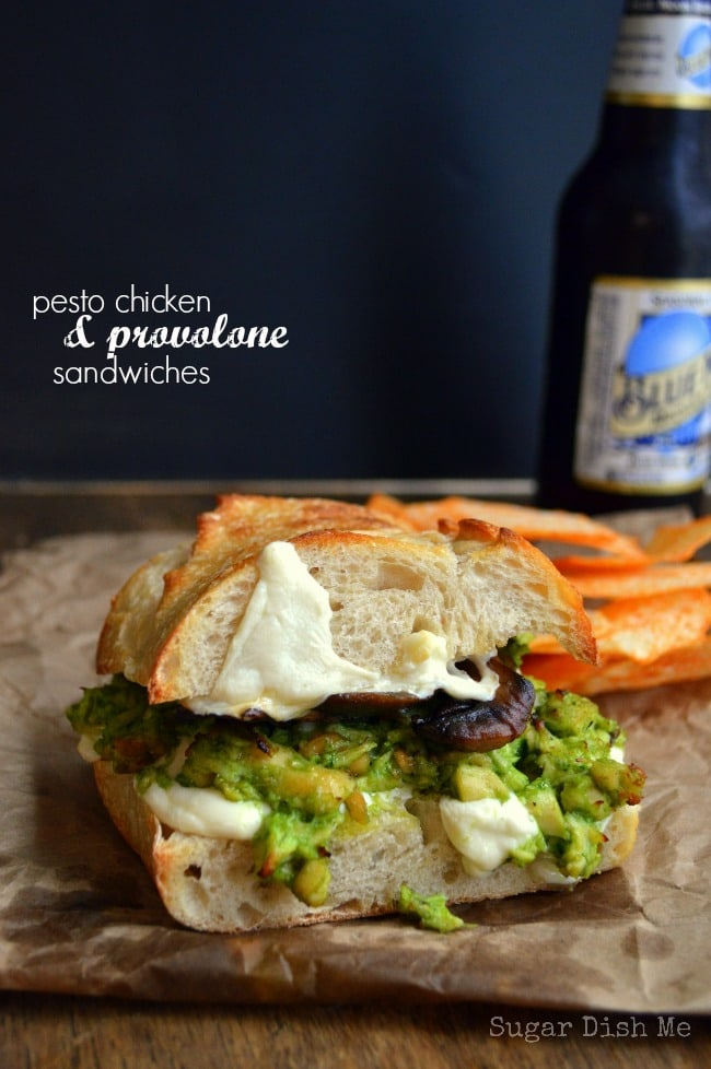 Pesto Chicken and Provolone Sandwiches via www.sugardishme.com