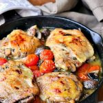 Roasted Chicken Thighs with Tomatoes and Mushrooms via Will Cook for Smiles; Meal Plans Made Simple