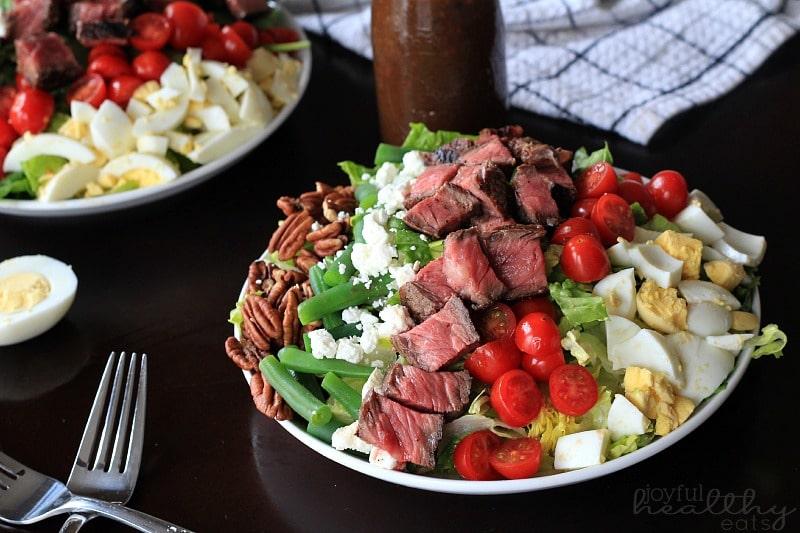 Ribeye Steak Salad with Balsamic Vinaigrette via Joyful Healthy Eats; Meal Plans Made Simple