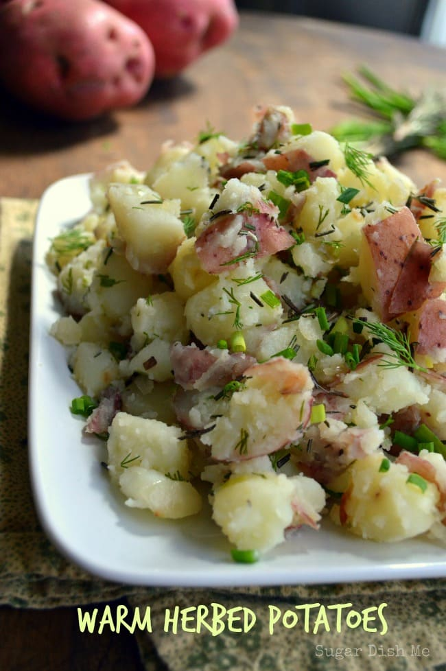 Warm Herbed Potatoes via www.sugardishme.com